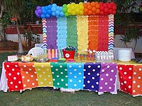 Rainbow theme Food table cover